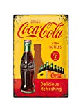Asher Nostalgic Art - Placa de metal con forma de botella de Coca-Cola para bar, color amarillo, diseño retro, placa decorativa de metal, placa decorativa de metal Beer Club, tamaño 20 x 30 cm