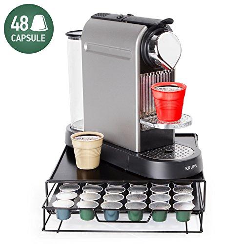 "Tatkraft Aim Nespresso Coffee Pod Holder 48 Capsules, Coffee Pod Storage Drawer, Compact Design for Tidy Kitchen 11.3 X 2.8 X 12.6"""