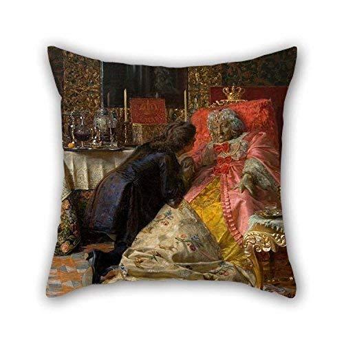 N\A Funda de Almohada (Lados Gemelos) Buena elección para San Valentín Sala de Baile Salón Sofá Boda Inicio Pintura al óleo Kristian Zahrtmann - Muerte de la Reina Sophie Amalie