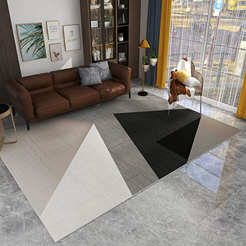 NF Alfombra rectangular moderna moderna para sala de estar, dormitorio, diseño nórdico, geométrica, antideslizante, lavable, grande, 120 x 180 cm