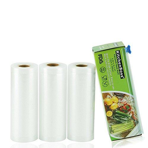 KitchenBoss Vakuumrollen mit Cutter-Box,3 Rollen 15x500cm Folienrollen BPA-Frei und FDA-Approved für alle Vakuumierer, stark & reißfest & kochfest & wiederverwendbar Vakuumbeutel für Sous Vide
