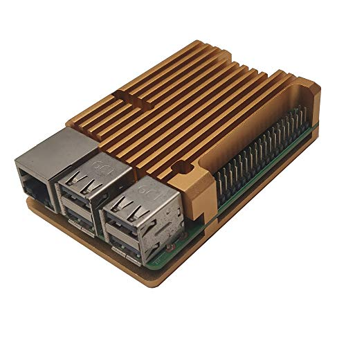 ZkeeShop Aluminium Gehäuse mit Dual-Lüfter Kühlkörper Compatible for Raspberry Pi 3 Model B,Pi 3 B+,Pi 2 Model B (Raspberry Pi Board Nicht enthalten) (Gold Without Fan)