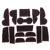 8X-SPEED para Tucson IX35 2009-2012 (15 Piezas) Almohadilla de La Ranura de Puerta Cup Alfombrillas Interior Alfombrillas Antideslizantes Interior Puerta Seguridad Pad Rojo