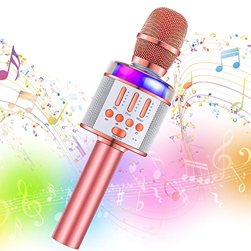 Wireless Karaoke Microphone Machine Toy- Amazmic Handheld Bluetooth Microphone for Karaoke with Lights, Best Toy for 3-12 Years Old Kids Boys/Girls/Adults Birthday Party, Home KTV(Rose Gold)