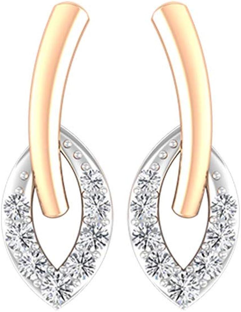 SGL Certified Diamond Gold Earring, Statement Open Leaf Partywear Earring, Antique Diamond Wedding Stud Earring, Mixed Metal Bridal Promise Earring, Screw back