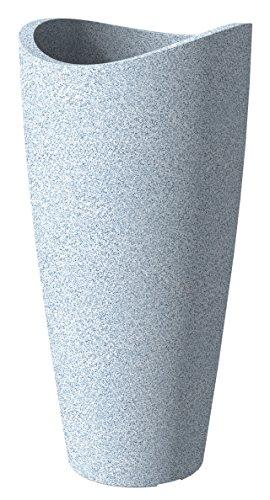 Scheurich Wave Globe Slim, Hochgefäß aus Kunststoff, Weiss-Granit, 39,5 cm Durchmesser, 80 cm hoch, 18 l Vol.