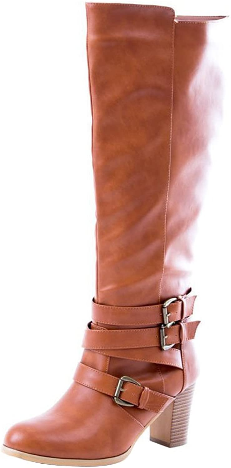 Soho shoes Women's Leatherette Buckle Over The Knee Wide Leg Riding Boots