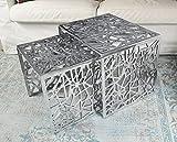MichaelNoll Couchtisch 2er Set Wohnzimmertisch Sofatisch Beistelltisch Tisch Aluminium Silber 49 cm