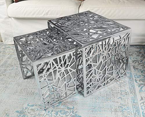 Couchtisch 2er Set Modern, Wohnzimmertisch Sofatisch Beistelltisch Tisch aus Metall, Aluminium Silber Luxus 49 cm
