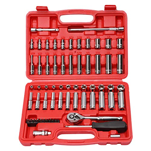 CASOMAN 1/4-Inch Drive Master Socket Set with Ratchets,Universal Joint, Extensions with 1/4'' Dr. Bits Set, Inch/Metric, 6-Point, 5/32-Inch - 9/16-Inch, 4 mm - 14 mm, 62-Piece 1/4' Dr. Socket Set