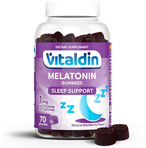 VITALDIN Melatonina gummies - 1 mg por dosis diaria - 70 gominolas (suministro para 2 meses), sabor a Mora - Ayuda a Conciliar el Sueño - Sin Gluten - Apto para Niños & Adultos