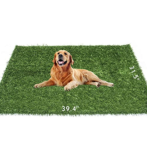 Dog Grass Pee Pad 39.4in x 31.5in, Artificial Grass Turf Dog Grass Mat for Indoor Outdoor Potty Training Use, Washable Grass Pee Pads for Dogs, Professional Dog Grass Pad for Medium and Large Breeds