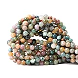 CHEAVIAN 60PCS 6mm Natural Indian Agate Gemstone Round Loose Beads for Jewelry Making DIY 1 Strand 15'