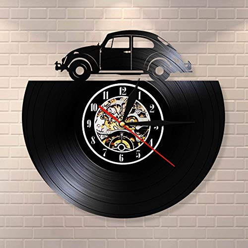 wtnhz LED-Reloj de Pared con Disco de Vinilo de Coche Antiguo, lámpara de Pared LED, decoración del hogar, Reloj de Pared, Regalo LED para Coche, Amante del Coche