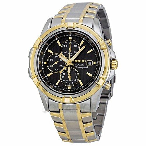 Gifts and Jewels Co. Seiko Seiko solare Cronografo Nero Quadrante Bicolore Acciaio inox Acciaio Mens Orologio SSC142