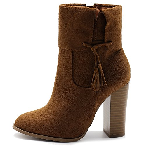 Ollio Women's Shoe Faux Suede Back Zip Up Stacked High Heel Tassel Ankle Boots SSB06(10 B(M) US, Tan)