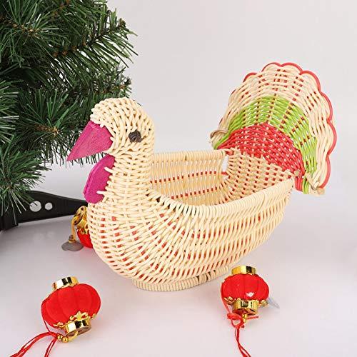 Emoshayoga Cesta de Almacenamiento de Escritorio Duradera de ratán de imitación Linda para cestas de Frutas