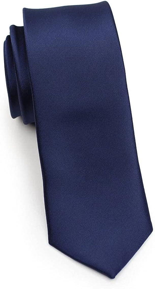 Mens Necktie, Solid Satin Tie Pure Color Skinny Slim Necktie Mens Ties #1 Blue Navy