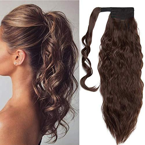 Ponytail Clip in Pferdeschwanz Zopf Extension Haarteil Haarverlängerung Hair Piece Corn Wavy gewellt wie Echthaar 26'(66cm) Mittel braun-1