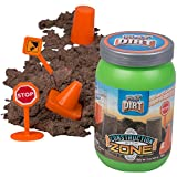 Construction Zone Dirt - Unique Play Dirt for Burying and Digging Fun. Includes Dirt, Signs, Cone and Barrel.