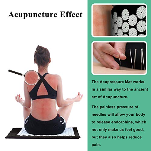 Acupressure Mat and Pillow Set with Bag - Large Size 28.7 X 16.5 inch Massage Body Acupuncture Mat - Naturally Relax Back, Neck and Feet Muscles - Stress and Pain Relief (Black)