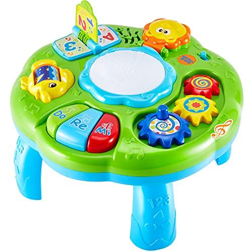 HERSITY Tavolino Multiattivita Bambini, Tavolo Centro Attivita Gioco Musicale con Luci e Suoni Giocattoli...