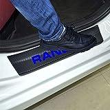 SENYAZON Ranger Decal Sticker Carbon Fibre Vinyl Reflective Car Door Sill Decoration Scuff Plate for Ford Ranger (Blue)