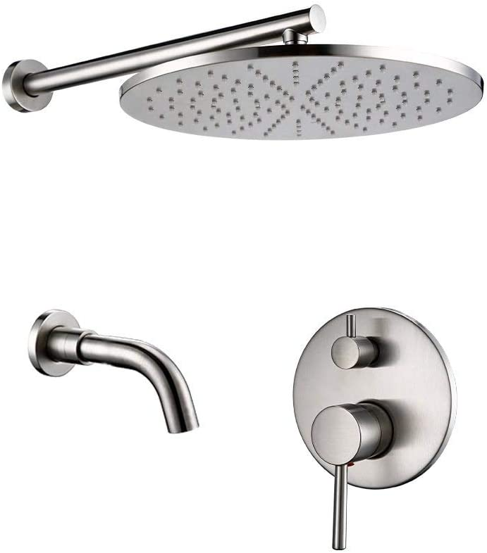 PLUIEX Bathtub Faucet Brushed Brass Fill Set Tap Indefinitely Mixer Diverter Luxury