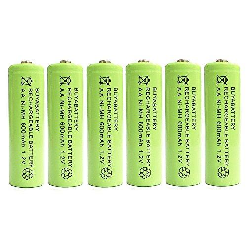 BuyaBattery AA 1.2v 600mAh NiMH Rechargeable Solar Light Batteries for Outdoor Garden Solar Lights (6 Pack)