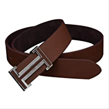 MDZZ Belt New Fashion Men Women PU Leather Belts Famous Brand Waist Elastic Female Belts For Jeans Dress Shirts Trousers Black Brown White 105CM Brown