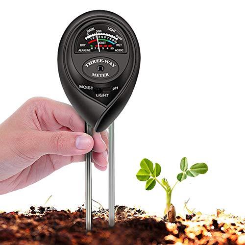 Soil Tester, 3 in 1 Soil Test Kit for Moisture, Light & pH Meter for Plant, Vegetables, Garden, Lawn, Farm, Indoor/Outdoor Plant Care Soil Tester (No Battery Need & 2020 Update)(Black)
