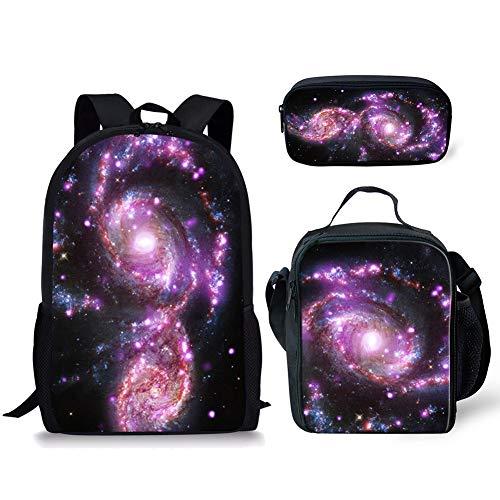 POLERO Galaxy Universe Printed Schultasche für Mädchen, Teens Rucksack Set, Mädchen Rucksack mit Lunch Bag, 3 in 1 Back Pack
