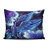 XIAFA Home Custom Pillowcase My Little Pony Princess Purple and Blue Simple Decorations Sofa Throw Pillow Case Cushion Cover One Sided Printed Design Queen 20X30 Inch (Set of 1)