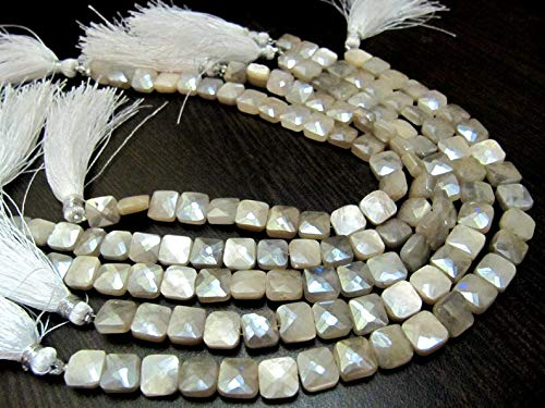 Shree_Narayani Piedra lunar blanca natural plata AB Mystic revestido cojín forma facetada perlas 7-8mm hebra 8