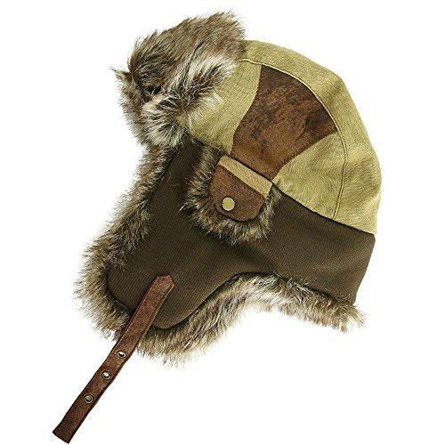 Comhats SIGGI warme beige Baumwolle Trappermütze Bomber Hut Unisex Fliegermütze Fellmütze Erwachsenen für Herren