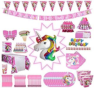 Unicorn Party Supplies Pack, Comes Disposable Tableware Birthday Party Decoration Set, Serve 10, All-in-One Value Kit, Per...
