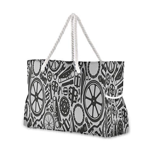 YXUAOQ Reisetasche Outdoor Schwarz-Weiß-Fahrradräder Reisetasche Reißverschluss Lustige Strandtasche 20,5 x 7,3 x 15 Zoll Reißverschluss mit Baumwollgriff für Picknicks Reiseurlaub