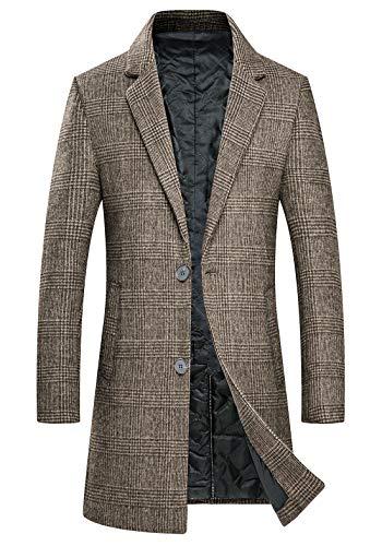 zeetoo Men's Wool Trench Coat Winter Slim Fit Wool Jacket Long Peacoat Overcoat Plaid Brown Large
