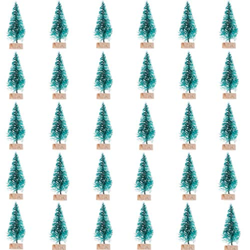 Haiabei 30 Pcs Mini Christmas Trees Plastic Frosted Sisal Trees with Wood Base for DIY Crafting,Displaying and Desktop Home Decoration Christmas Decoration