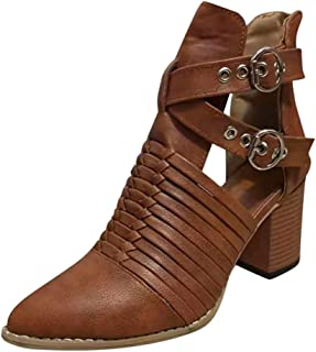Kauneus Womens Pointed Toe Ankle Booties Chunky Mid Heel Buckle Ankle Back Zipper Retro Roman Short Boots Sandals