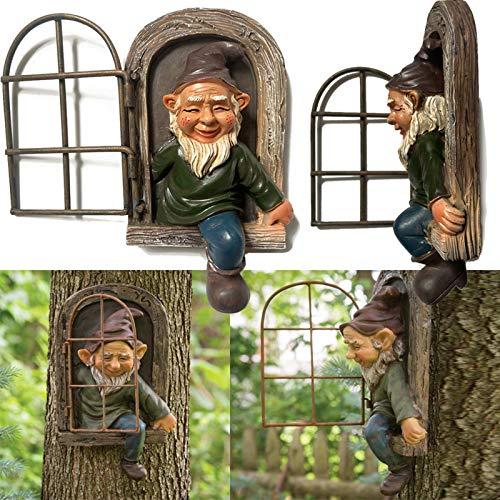 KFEK Elf Out the Door Tree Hugger, Garden Peeker Yard Art Caprichosa Escultura de árbol Decoración de jardín, Gnomo de resina Decoración de jardín Adorno de Estatua Regalo