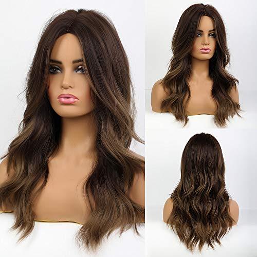 MISHAIR Parrucche Donna Marrone Parrucca lunga capelli lunghi mossi Cosplay Wigs Anime Ragazze Capelli castani 24 pollice