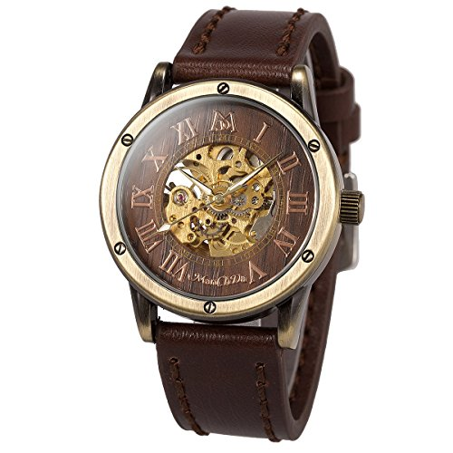 ManChDa メンズ手首腕時計ファッション茶色革バンド特別バーリーウッド ダイヤル男性ギフト ボックスの自動機械腕時計