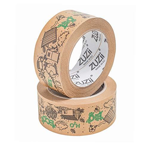 Zuzii Papier-Klebeband   Kraft-Packband   Dekoband   Eco Umweltfreundlich   48mm x 50M   4 Rollen Pack