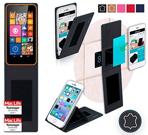 reboon Hülle für Nokia Lumia 630 Tasche Cover Case Bumper | Testsieger | Schwarz Leder
