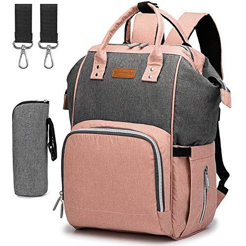 Baby Wickeltasche Rucksack Wickelrucksack, mit USB-Ladeanschluss und 2 Kinderwagengurte + 1 Wickelunterlage + 1 Isolierte Tasche (Rosa & Grau)