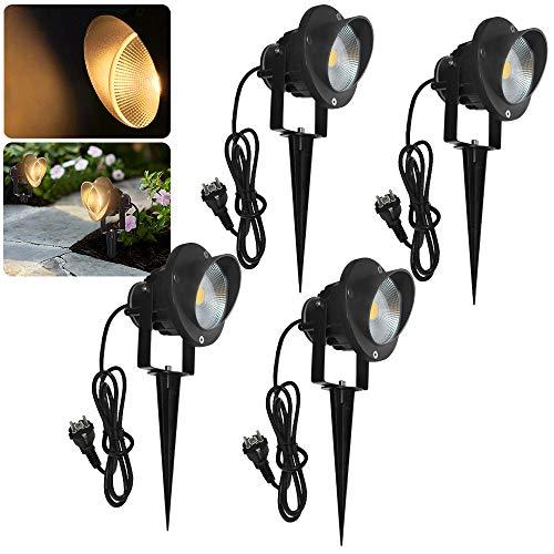 LZQ 10W LED Gartenstrahler mit Stecker 4er Pack Gartenleuchte mit Erdspieß, IP65 Wasserdicht Gartenbeleuchtung mit 2m Kabel,Warmweiß Gartenlampe Außenlampe für Baum,Teich,Garten