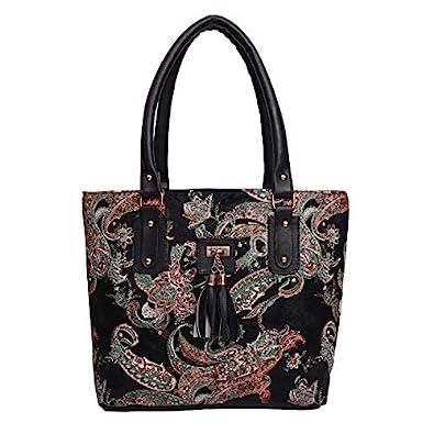 jsm fashion Women's Handbag (BLACK PRINT_Black)
