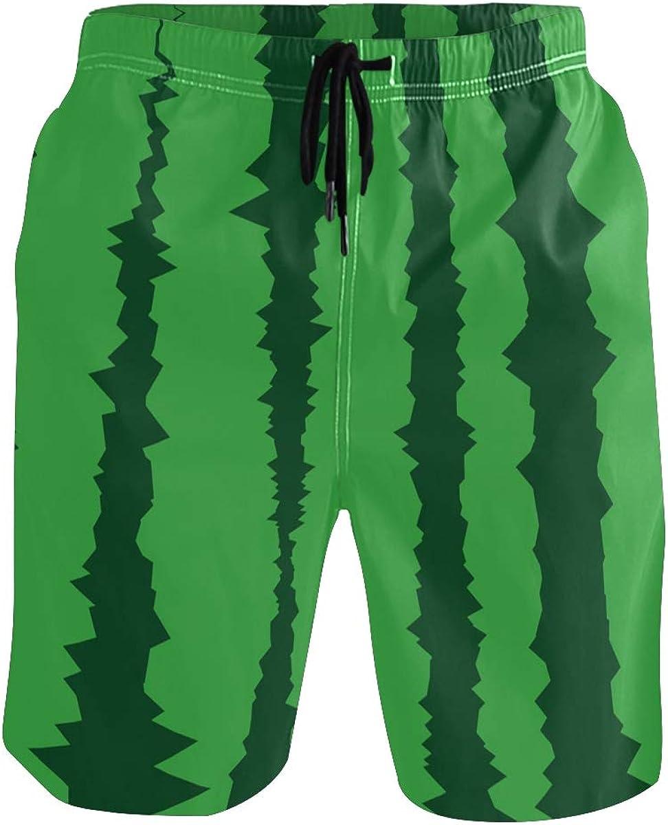 Green Watermelon Skin Swim Trunks Men Long Elastic Quick Dry Drawstring Swimwear Mesh Lining S-XXL