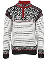 ICEWEAR Baldur Norwegian Cotton Sweater | 100% Cotton Knit Design Quarter Zipper Patterned Collar Outdoor Norwegian | White - XL